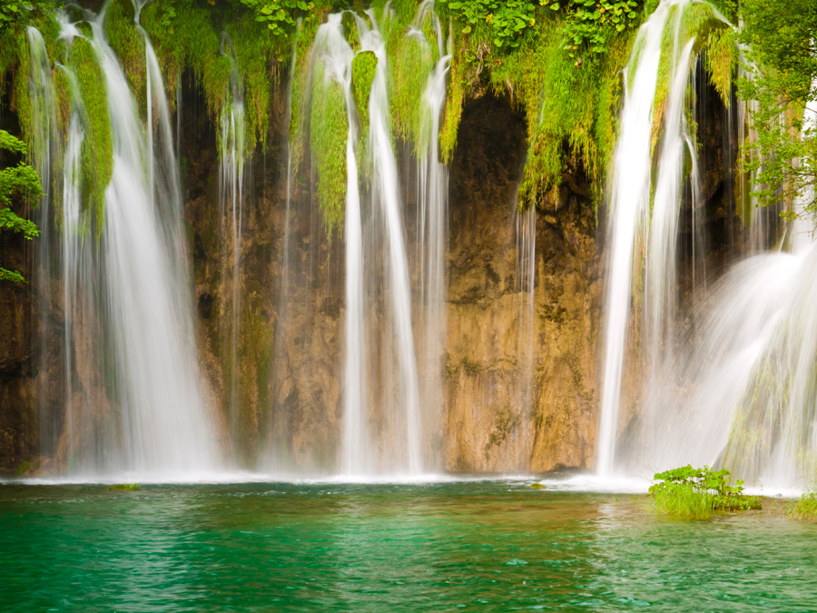 Cascading waterfalls in Plitvice National Park in Croatia